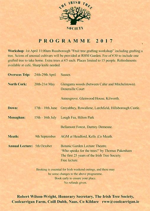 irish tree society events program 2017